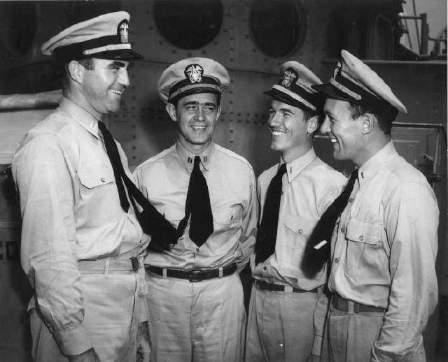 LTJG Sheppard is third from left, US Navy Photo.