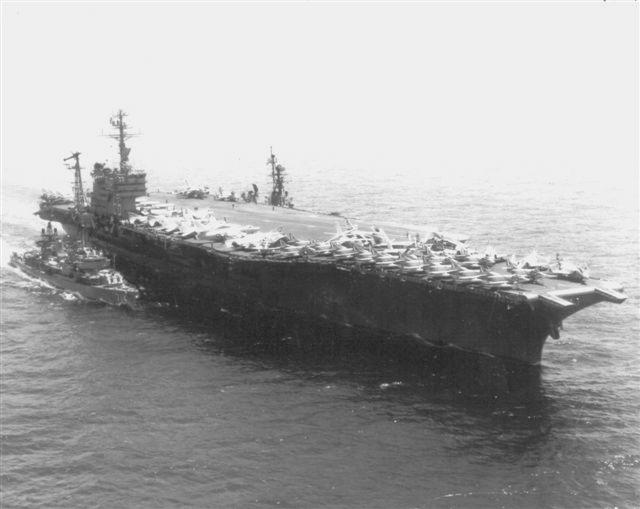 RUSH refueling from USS AMERICA during 1967 Med Cruise, donated by Jim Hocking