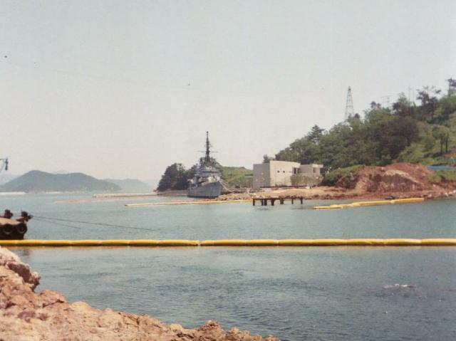 Ex USS RUSH moored at Museum construction site. Photo donated by Houston Milstead (1950-1951).