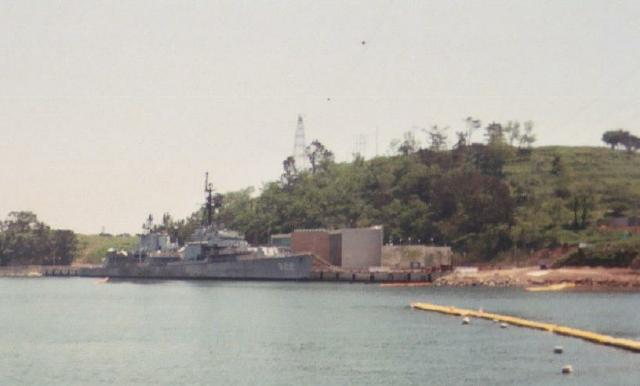 Ex USS RUSH at Museum construction site. Photo donated by Houston Milstead (1950-1951).
