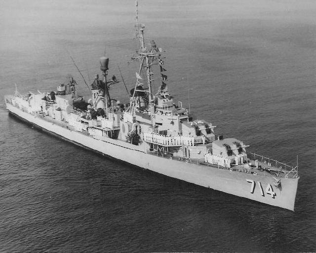 USS RUSH (DDR 714) circa 1958. Photo contributed by John Denehy.