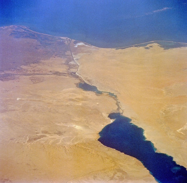 Satillite view of the Suez Canal